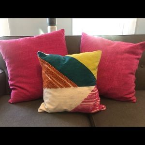 Three West Elm throw pillows